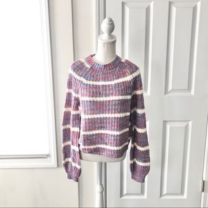 Charlotte Russe Open Knit High Neck Stripe Sweater